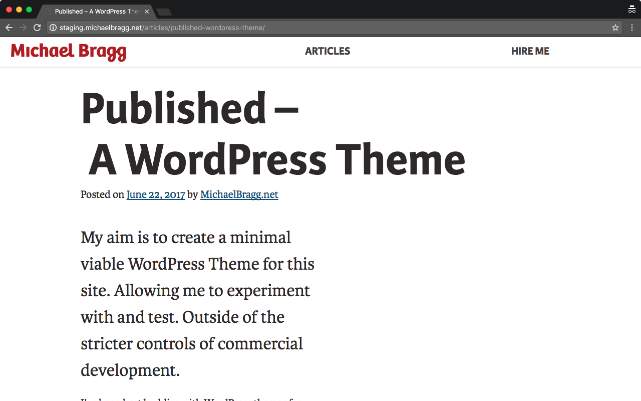 Published WordPress Theme at site launch