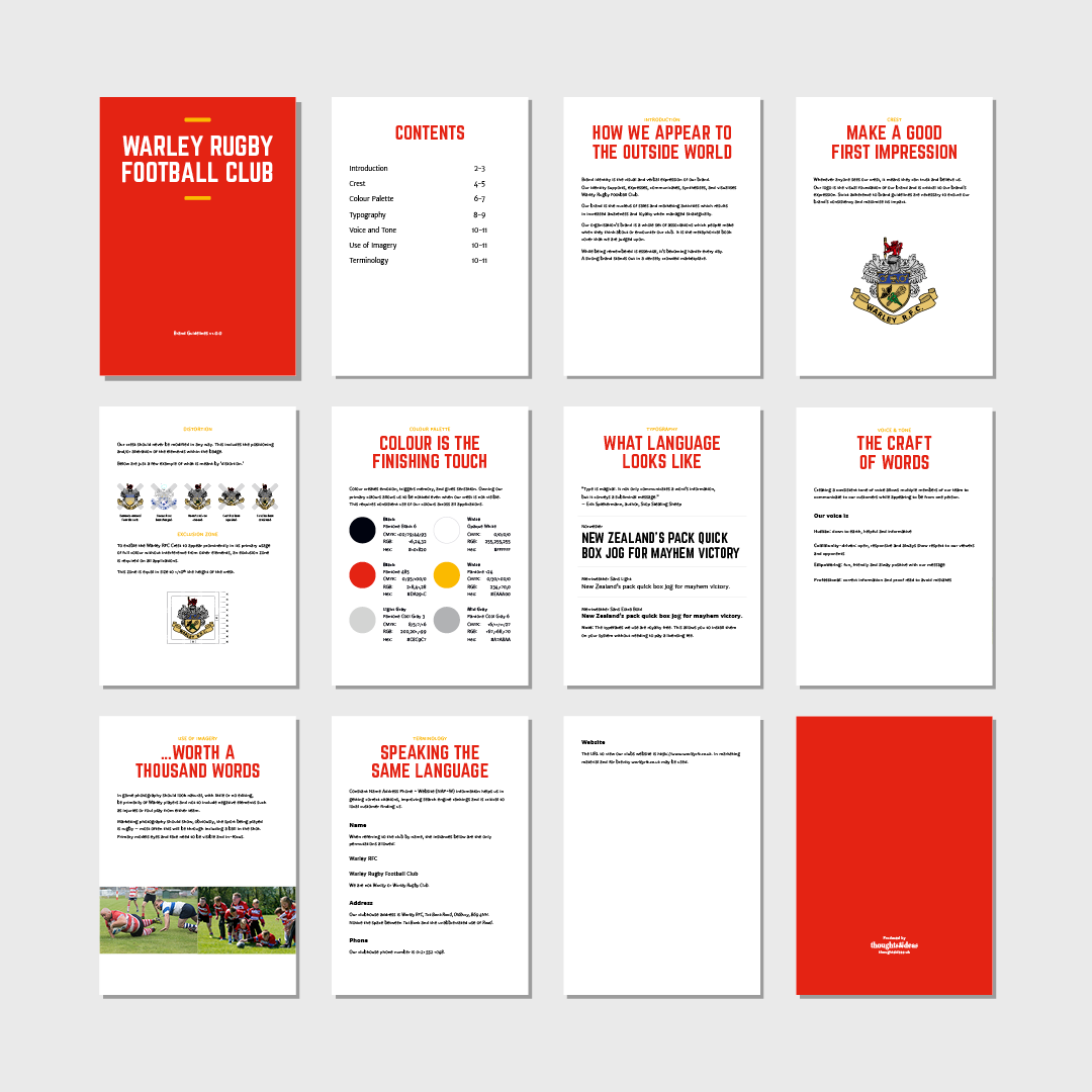 Warley RFC Brand Guidelines snapshot of all pages